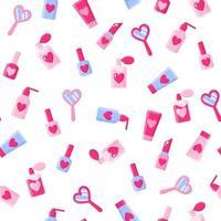 nahtloses Muster von Kosmetika, Spiegeln, Herzen, Lippenstiften, Parfüm für die Hochzeit oder den Valentinstag. vektor