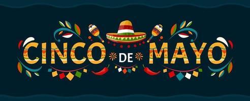 cinco de mayo.may 5 Urlaub in Mexiko. Plakat mit Grunge-Textur. Chilischoten und Sombrero. Cartoon-Stil. Vektor Banner.