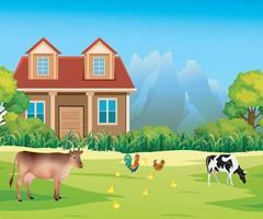 Bauernlandschaft im flachen Stil mit Vieh, Feldern, Wiese. Vektor eps 10