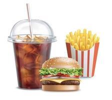 Hamburger mit Pommes Frites und einem Cola-Getränk, isoliert auf Weiß. Vektor eps 10