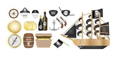 Piratenschiff mit Piratenkompass, Goldmünze, Rumfass, Schatzkiste, Flagge, Pistole und Augenklappe vektor