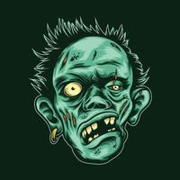Zombiekopfillustration mit Ohrringvektor auf lokalisiertem Hintergrund vektor