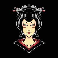 geisha illustration på svart isolerad bakgrund vektor