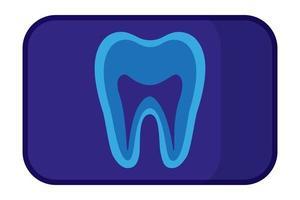 Vektorkarikaturillustration der Zahnröntgenstrahlung lokalisiert auf weißem Hintergrund. vektor
