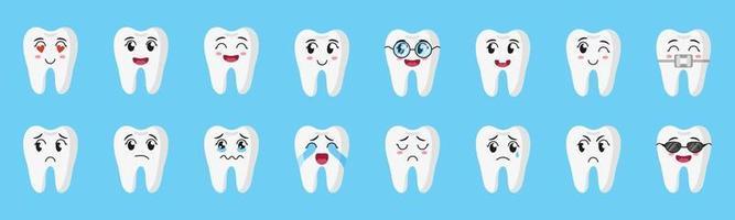 Vektor-Cartoon-Satz von niedlichen Zeichen der Zähne mit verschiedenen Emotionen glücklich, traurig, weinend, freudig, lächelnd, lachend vektor