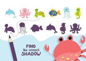 Finden Sie die richtige Aktivität der Schattenmeertiere vektor