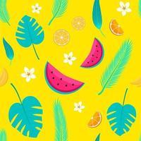 tropiska frukter och palmblad seamless mönster, sommarbakgrund i vektor. illustration av vattenmelon, apelsiner, bannanas, blommor och löv. perfekt för bakgrundsbilder, webbsidans bakgrunder, ytstrukturer, textil. vektor