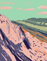 Wassertaschenfalte im Streik-Tal im Kapitol-Riff-Nationalpark in Süd-Zentral-Utah-WPA-Plakatkunst vektor