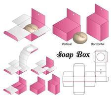hylsa stel låda för tvål mockup med stansad vektor