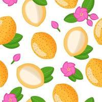 Nahtloses Muster der Vektorkarikatur mit exotischen Früchten, Blumen und Blättern von Platonia insignis oder Bacuri auf weißem Hintergrund vektor
