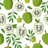 Nahtloses Muster der Vektorkarikatur mit exotischen Früchten, Blumen und Blättern von annona muricata auf weißem Hintergrund vektor
