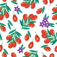 Nahtloses Muster der Vektorkarikatur mit exotischen Früchten, Blumen und Blättern von Lycium barbarum oder Goji auf weißem Hintergrund vektor