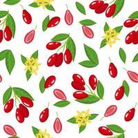 Nahtloses Muster der Vektorkarikatur mit exotischen Hartriegelfrüchten, Blumen und Blättern auf weißem Hintergrund vektor