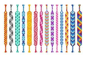 Vektorsatz von mehrfarbigen handgemachten Hippie-Freundschaftsbändern von Fäden lokalisiert auf weißem Hintergrund. vektor