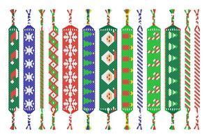 Vektorsatz von handgemachten Freundschaftsbändern von Fäden lokalisiert auf weißem Hintergrund. Frohe Weihnachten und ein glückliches Neues Jahr vektor