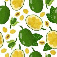 Nahtloses Muster der Vektorkarikatur mit exotischen Jackfruchtfrüchten, Blumen und Blättern auf weißem Hintergrund vektor