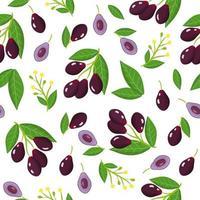 Nahtloses Muster der Vektorkarikatur mit exotischen Früchten, Blumen und Blättern von Syzygium cumini oder jambolan auf weißem Hintergrund vektor