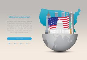 Berühmter USA-Markstein für Reise- oder touristische Werbungs-Schablone vektor