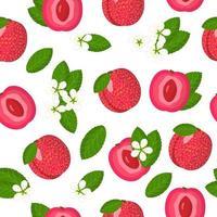 Nahtloses Muster der Vektorkarikatur mit Pflaumen-Aprikosen-Hybrid oder plotischen exotischen Früchten, Blumen und Blättern auf weißem Hintergrund vektor
