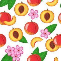 Nahtloses Muster der Vektorkarikatur mit exotischen Früchten, Blumen und Blättern des Prunus persica oder der Nektarine auf weißem Hintergrund vektor
