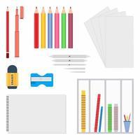 Briefpapier im flachen Stil. Zeichenwerkzeuge wie Bleistift, Radiergummi, Zeichenpapierbinder, Bleistiftspitzer, Zeichenstift, Buntstift usw. Ausrüstungen für Künstler, Schule. Vektorillustration vektor