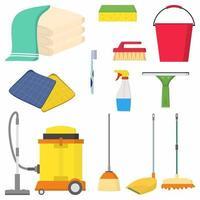 hushållsartiklar och rengöring platt ikoner set. mopp, svamp, sprayflaska, handduk, dammsugare, hink, gummiskrapa, borste. hushållsredskap och utrustning isolerade bilder på vit bakgrund vektor