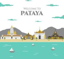 Välkommen till Pattaya. Thailand berömda byggnad landmärke med vacker utsikt. rekommenderar för alla besökare. reklamblad mall. resa till Asien. vektor färgglada illustration i platt stil.