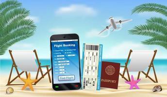 smartphone med online-flygbokningsapp på stranden vektor
