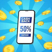 cashback-marknadsföring för e-handelsplats med 3d-telefon och dollar gyllene mynt illustration koncept för banner reklamblad affisch vektor