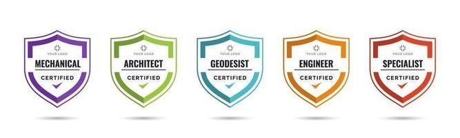 Satz von Firmenausweiszertifikaten zur Bestimmung anhand von Kriterien. Vektorillustration zertifizierte Logo-Design-Vorlage. vektor