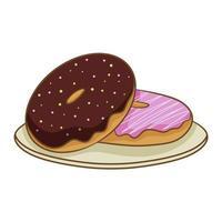 zwei bunte gefrostete Donuts auf einem Teller, lokalisiert auf einem weißen Hintergrund. Vektorillustration im flachen Karikaturstil. vektor