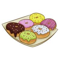eine Reihe von bunten Donuts in der Glasur auf einem Teller, lokalisiert auf einem weißen Hintergrund. Vektorillustration im flachen Karikaturstil. vektor