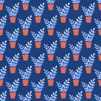 Topf Zimmerpflanze auf einem blauen Hintergrund. Vektor nahtloses Muster im flachen Stil