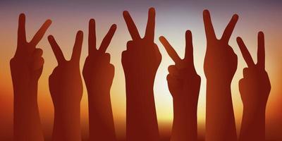 Hände erhoben, die das v für den Sieg zeigen vektor