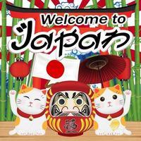 Willkommen in Japan mit Maneki-Katze und Daruma-Puppe vektor