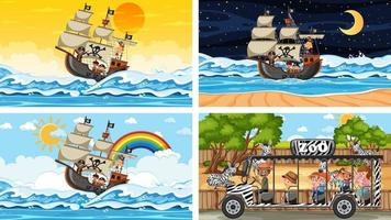 Reihe von verschiedenen Szenen mit Tieren im Zoo und Piratenschiff am Meer vektor