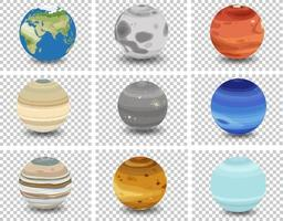 Satz von verschiedenen Planeten auf transparentem Hintergrund vektor