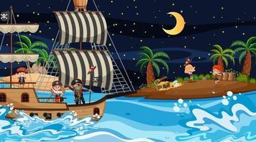 skattön scen på natten med piratungar på fartyget vektor
