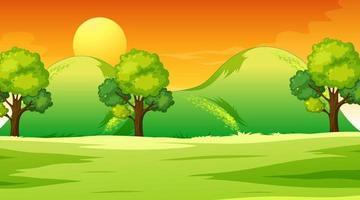 leere Wiesenlandschaftsszene zur Sonnenuntergangszeit vektor