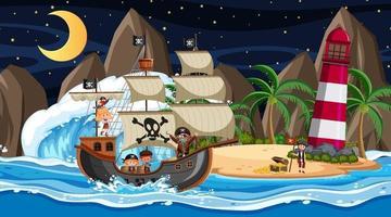 strand med piratskepp på nattplats i tecknad stil vektor