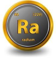 chemisches Symbol des Radiumchemikalienelements mit Ordnungszahl und Atommasse vektor
