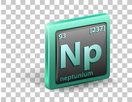 chemisches Symbol für chemisches Element von Neptunium mit Ordnungszahl und Atommasse vektor