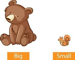 entgegengesetzte Adjektive Wörter mit groß und klein vektor