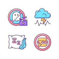 Ursachen für schlechten Schlaf rgb Farbsymbole gesetzt vektor