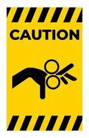 Vorsicht Vorsicht Rollensymbol Zeichen isolieren auf weißem Hintergrund vektor