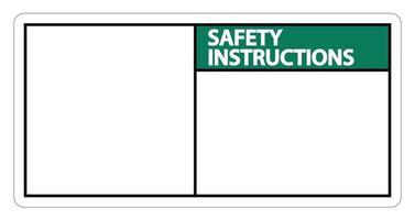 Symbol Sicherheitsanweisungen Zeichen Etikett auf weißem Hintergrund vektor