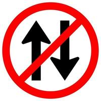 förbjuda tvåvägs trafik vägskylt vektor