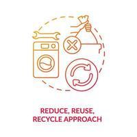 Symbol für das Konzept des Ansatzes reduzieren, wiederverwenden, recyceln vektor