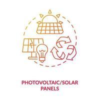 Konzeptikone für Photovoltaik und Sonnenkollektoren vektor