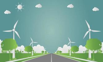 Fabrikökologie, Industrieikone, Windturbinen mit Bäumen und Sonne saubere Energie mit Straßen umweltfreundlichen Konzeptideen. Vektorillustration vektor